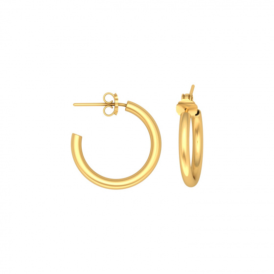 "Image of """"Classic"" silver hoop earrings 1,5 cm, gold plated, 15D20F-3"""