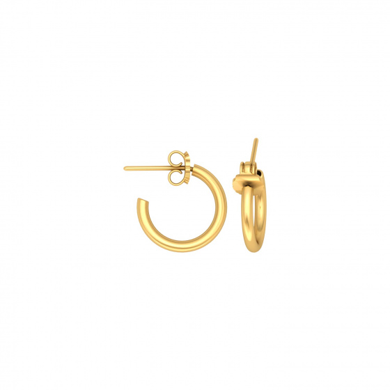 "Image of """"Classic"" silver hoop earrigs 1 cm, gold plated, 10D15F-3"""