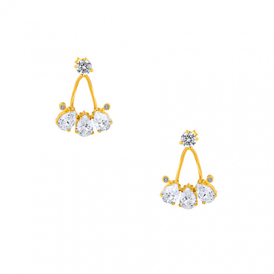 "Image of """"Poires"" silver earjacket earrings gold plated"""