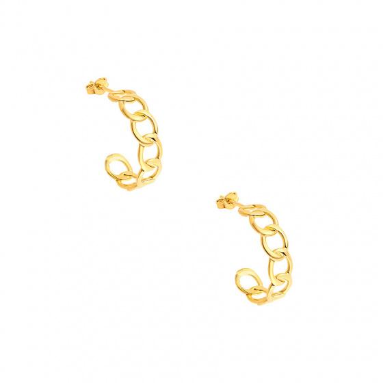 "Image of """"Wreath #1"" silver hoop earrings gold plated"""