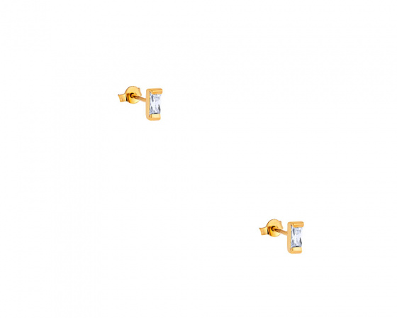 """Image of """"""""Exquisite White Baguette"""" silver earrings gold plated"""""""