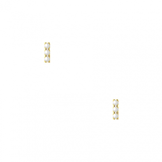 """Image of """"""""Trio Pearl Bar"""" silver earrings gold plated"""""""