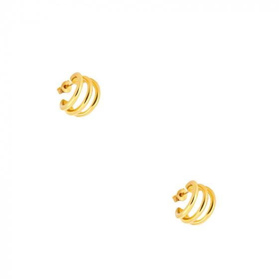 """Εικόνα του """"Ασημένια σκουλαρίκια κρίκοι """"Jolly"""" επίχρυσα"""""""