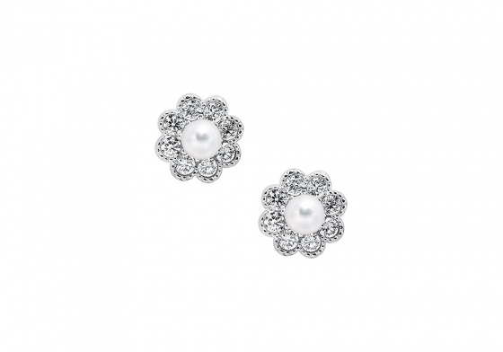 """Image of """"""""Dazzling Daisies"""" white gold earrings K14"""""""