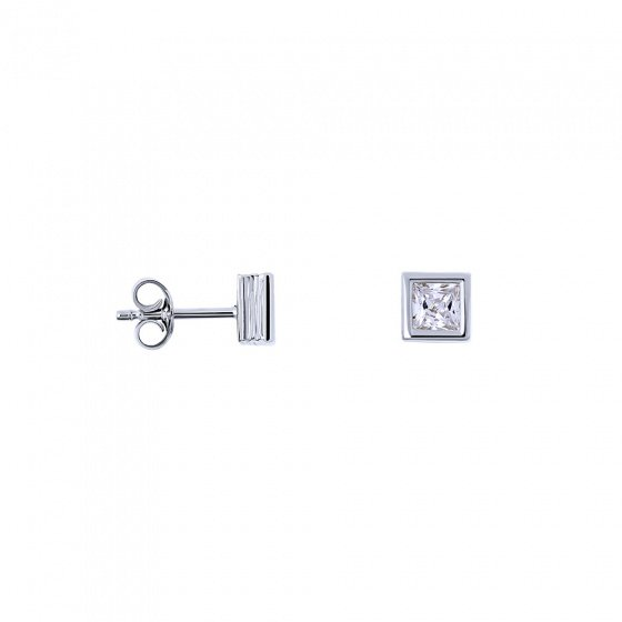 "Image of """"Crystal Cubes"" white gold earrings K14"""
