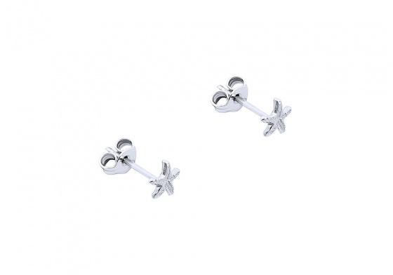 "Image of """"Starfish"" white gold earrings K14"""