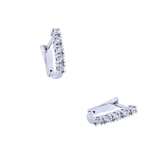 "Image of """"White Glow B"" white gold earrings K18 with diamonds VS"""