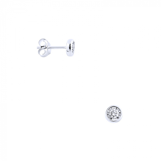 """Image of """"White gold earrings Κ14 with diamonds, BOI10123"""""""