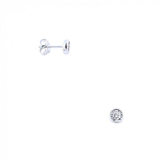 """Image of """"White gold earrings Κ14 with diamonds, BOI10124"""""""