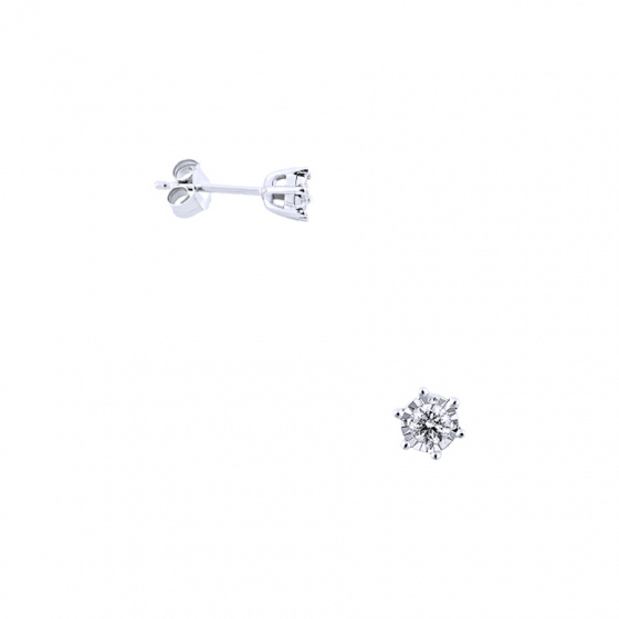 """Image of """"White gold earrings Κ14 with diamonds, BOS4008-020"""""""