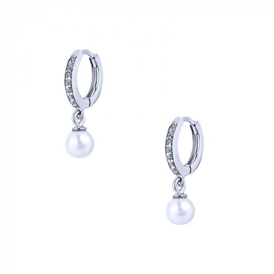 """Εικόνα του """"Λευκόχρυσα σκουλαρίκια κρίκοι K14 """"Dangle Pearl"""""""""""