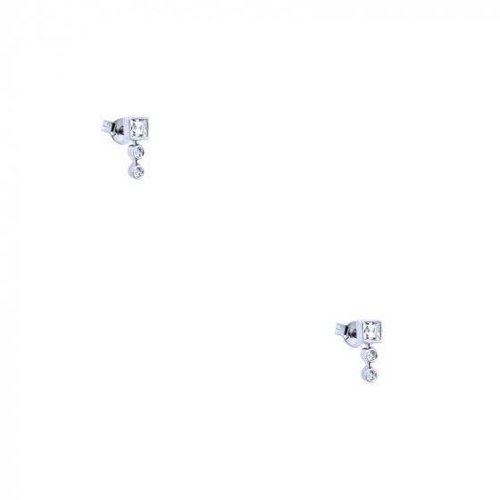 """Εικόνα του """"Λευκόχρυσα σκουλαρίκια Κ14 """"Tower"""" """""""