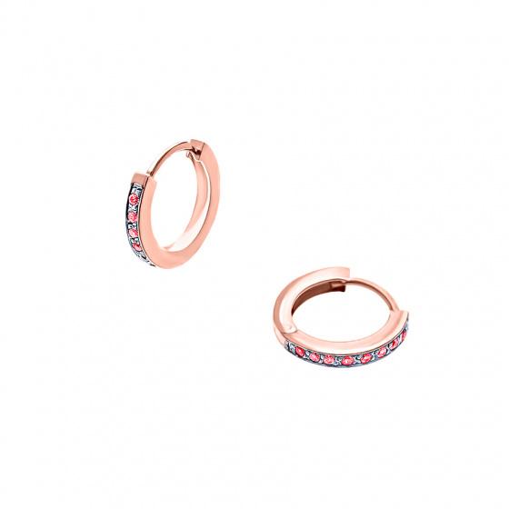 """Εικόνα του """"Ροζ χρυσά σκουλαρίκια κρίκοι K14 """"Red Confidence #2"""""""""""