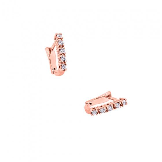 """Εικόνα του """"Ροζ χρυσά σκουλαρίκια K18 """"White Glow A"""" με μπριγιάν VS"""""""