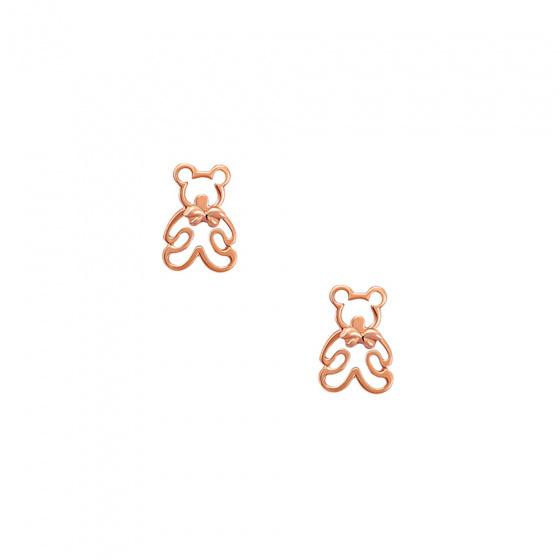 """Εικόνα του """"Ροζ χρυσά σκουλαρίκια Κ14 """"Teddy Bears"""""""""""