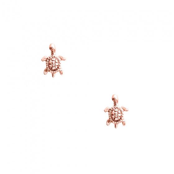 """Εικόνα του """"Ροζ χρυσά σκουλαρίκια Κ14 """"Sea Turtles"""""""""""