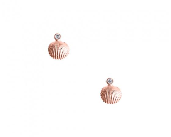 """Εικόνα του """"Ροζ χρυσά σκουλαρίκια Κ14 """"Shiny Oysters"""""""""""