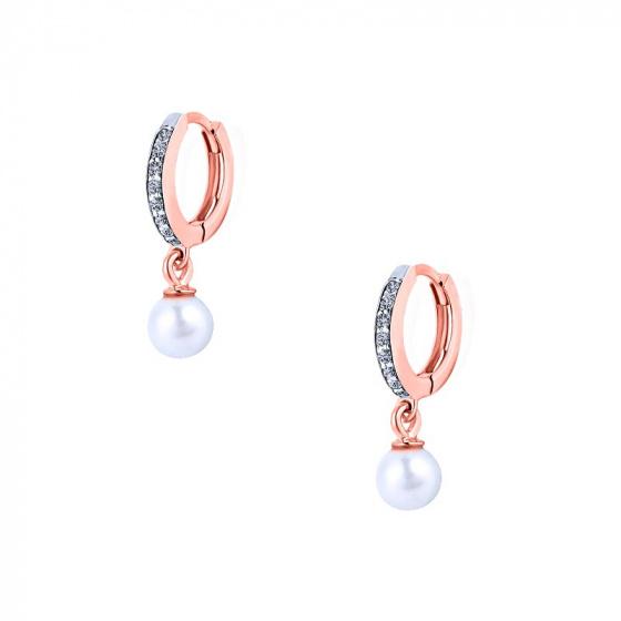 """Εικόνα του """"Ροζ χρυσά σκουλαρίκια κρίκοι K14 """"Dangle Pearl"""""""""""