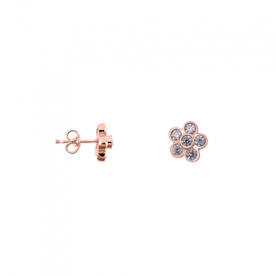"Image of """"Sunflower"" silver earrings rose gold plated"""