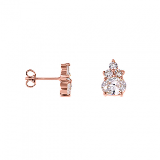 "Image of """"Heirloom"" silver earrings rose gold plated"""
