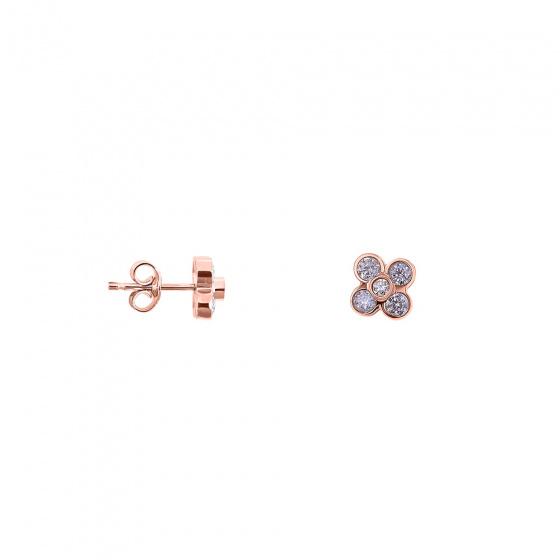 """Εικόνα του """"Ασημένια σκουλαρίκια """"Anemona"""" ροζ επίχρυσα"""""""