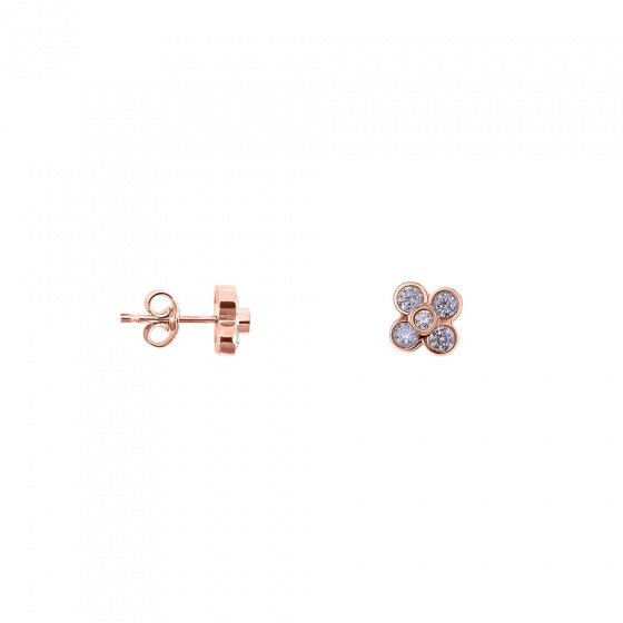 "Image of """"Anemona"" silver earrings rose gold plated"""
