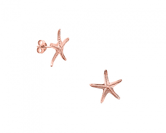 "Image of """"Starfish #2"" silver earrings rose gold plated"""