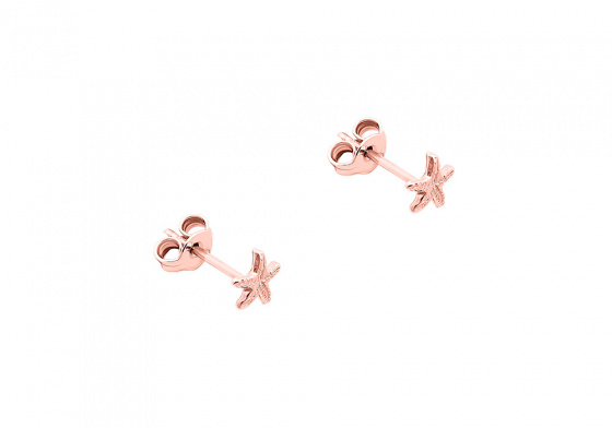 "Image of """"Starfish"" silver earrings rosegold plated"""