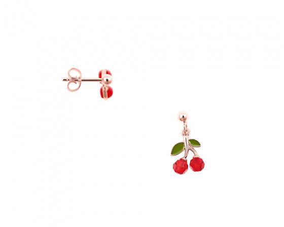 """Εικόνα του """"Ασημένια σκουλαρίκια """"Red Cherries"""" ροζ επίχρυσα"""""""