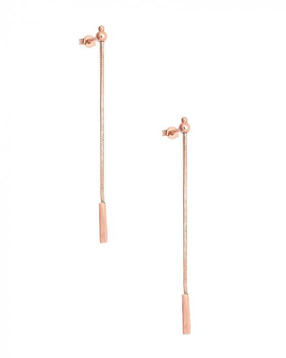"""Εικόνα του """"Ασημένια σκουλαρίκια """"Simplicity"""" ροζ επίχρυσα"""""""