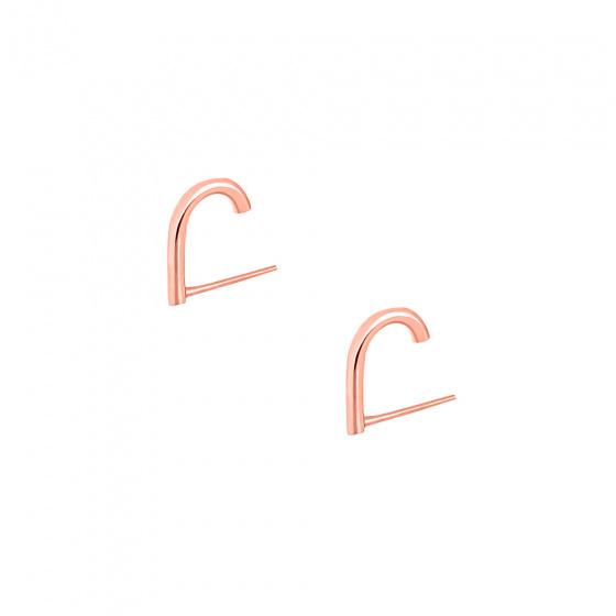"""Εικόνα του """"Ασημένια σκουλαρίκια suspenders """"Hooks"""" ροζ επίχρυσα"""""""
