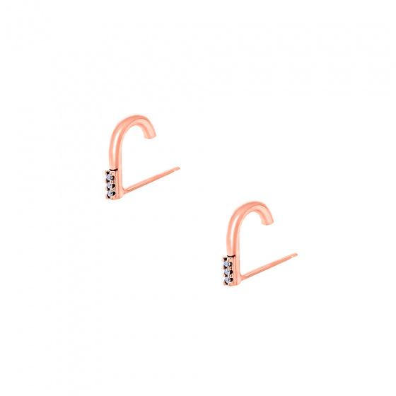 """Εικόνα του """"Ασημένια σκουλαρίκια suspenders """"Stone Hooks"""" ροζ επίχρυσα"""""""