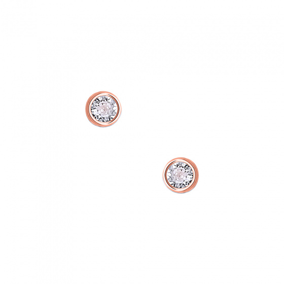 """Image of """"""""White Sensation"""" silver earrings rose gold plated"""""""