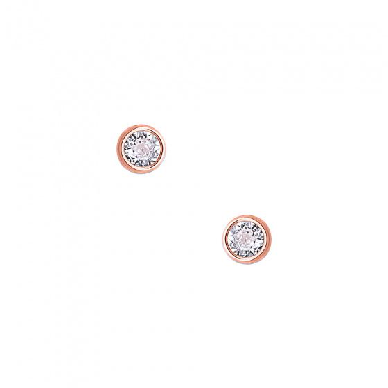"""Εικόνα του """"Ασημένια σκουλαρίκια """"White Sensation"""" ροζ επίχρυσα"""""""