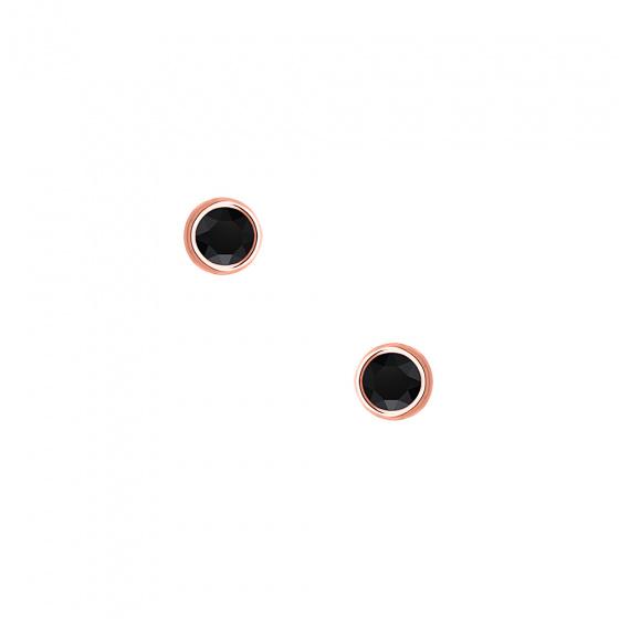 """Εικόνα του """"Ασημένια σκουλαρίκια """"Black Sensation"""" ροζ επίχρυσα"""""""