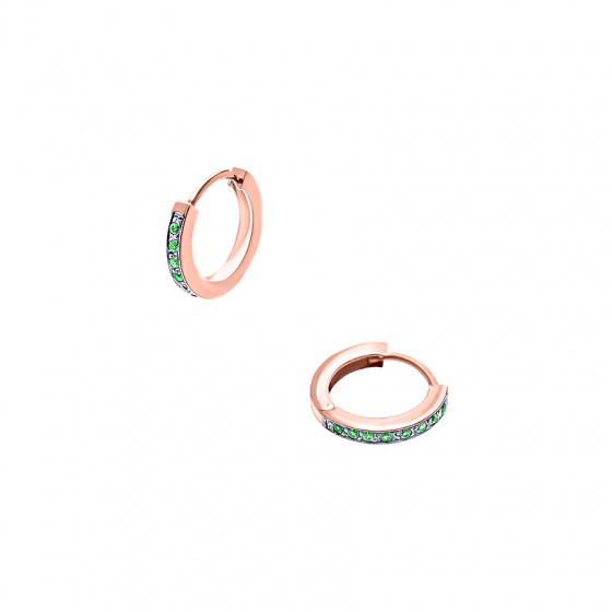 """Εικόνα του """"Ασημένια σκουλαρίκια κρίκοι """"Green Confidence #1"""" ροζ επίχρυσα"""""""