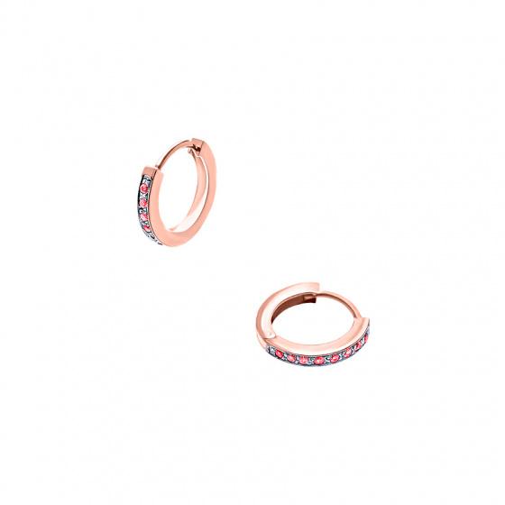 """Εικόνα του """"Ασημένια σκουλαρίκια κρίκοι """"Red Confidence #1"""" ροζ επίχρυσα"""""""
