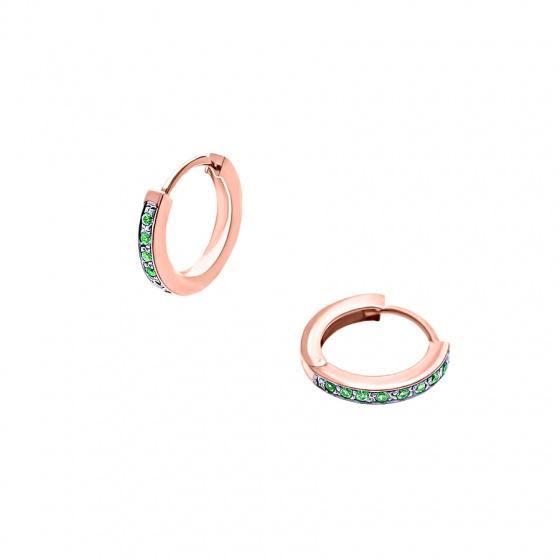 """Εικόνα του """"Ασημένια σκουλαρίκια κρίκοι """"Green Confidence #2"""" ροζ επίχρυσα"""""""