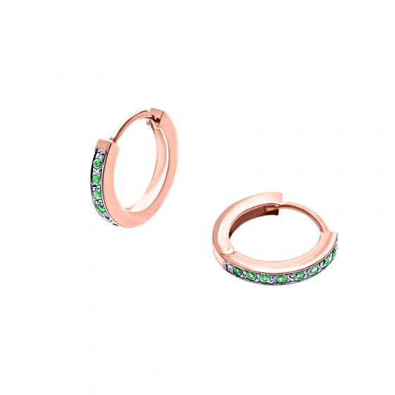 """Εικόνα του """"Ασημένια σκουλαρίκια κρίκοι """"Green Confidence #3"""" ροζ επίχρυσα"""""""
