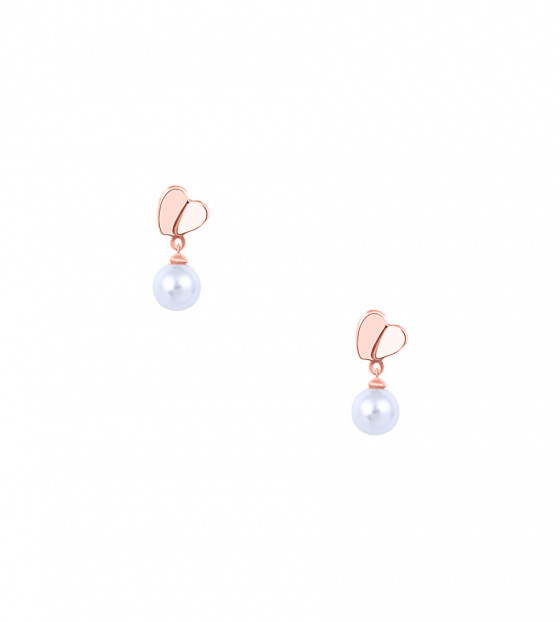 "Image of """"Pearl & Heart"" silver earrings rose gold plated"""
