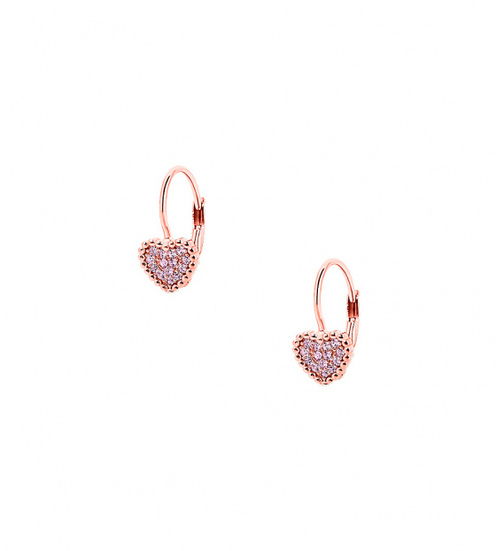 "Image of """"Cutie Pink Hearts #1"" silver children's earrings rose gold plated"""