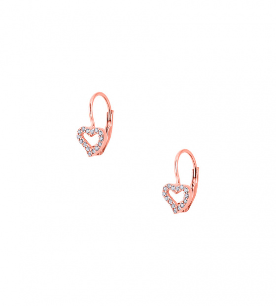 "Image of """"Cutie White Hearts #2"" silver children's earrings rose gold plated"""