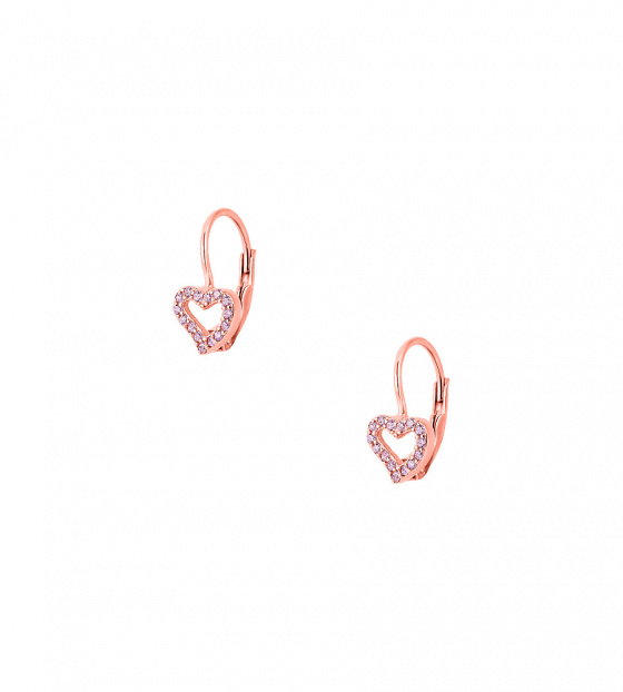 "Image of """"Cutie Pink Hearts #2"" silver children's earrings rose gold plated"""
