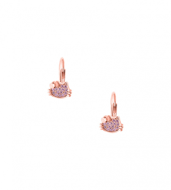 "Image of """"Cutie Pink Kitties"" silver children's earrings rose gold plated"""