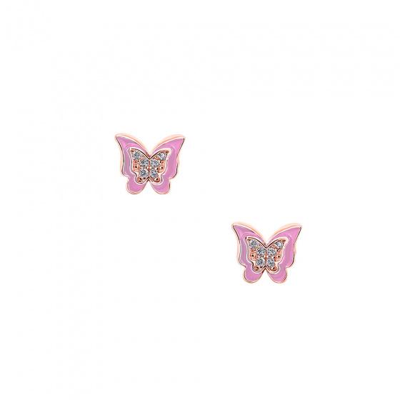 """Image of """"""""Cutie Pink Butterflies"""" cercei din argint placat cu aur roz pentru copii"""""""