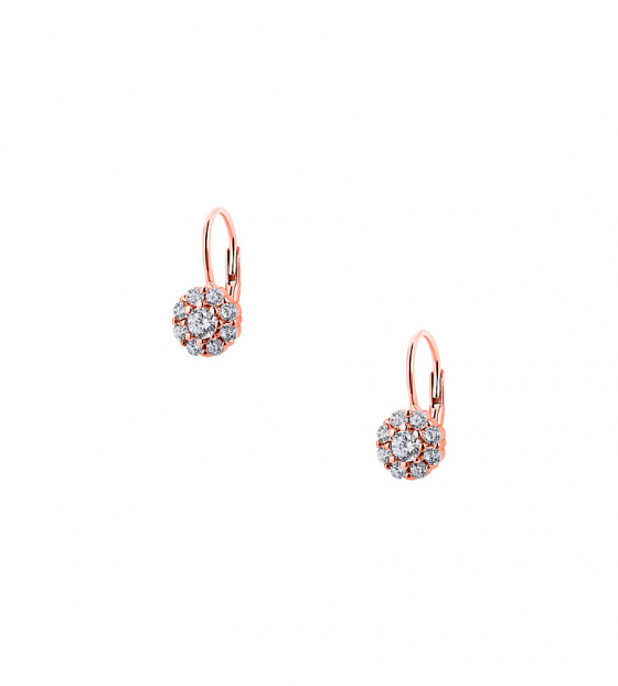 "Image of """"Cutie White Blossoms"" silver children's earrings rose gold plated"""