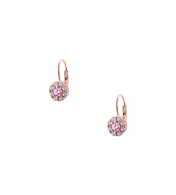 "Image of """"Cutie Pink Blossoms"" silver children's earrings rose gold plated"""