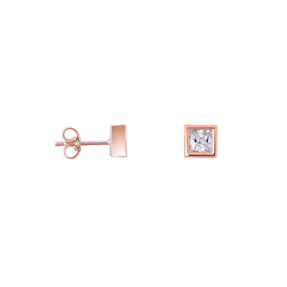 """Image of """"""""Perfect Crystal Cubes"""" silver earrings rose gold plated"""""""