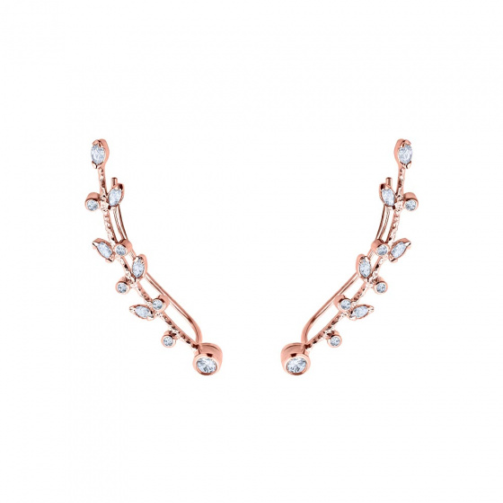 """Image of """"""""White Melia"""" silver climbers earrings rose gold plated"""""""