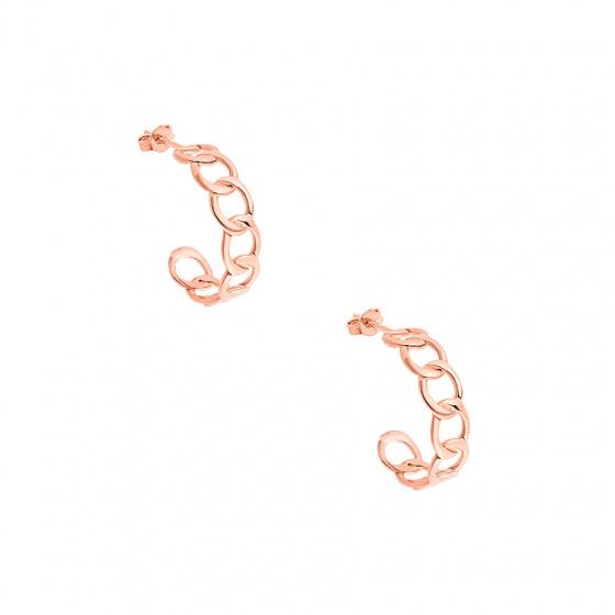 "Image of """"Wreath #1"" silver hoop earrings rose gold plated"""